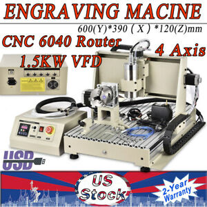 4 Axis 6040 Cnc Router Usb Engraver Milling Machine Desktop 3d Cutter 1500w Vfd