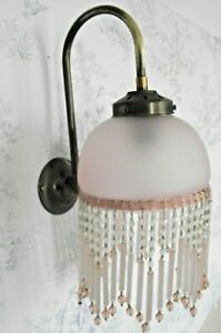 Beautiful French Antique Brass Wall Sconce Beaded Pale Pink Glass Shade 1339