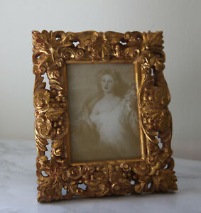 Gold Antique Look Carved Small Desktop Photo Picture Frame Gilt 3 X 5 Carved