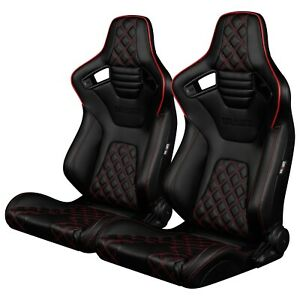 Braum black Diamond Leather Elite x Racing Seats W Red Piping