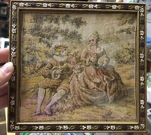Antique Victorian Needlepoint Tapestry Framed 1800s Women Man Couple Richards