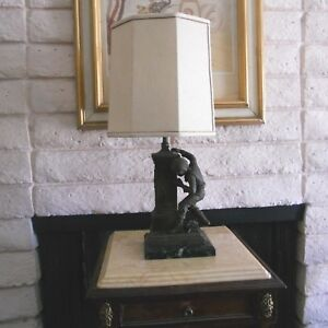 Figural Decorated Vintage French Table Lamp By Terville Suan Made In Paris