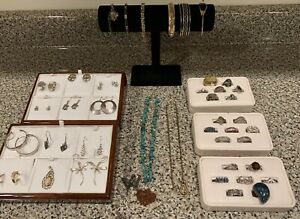 Vintage Sterling Silver Gold Fill Jewelry Lot 283g Scrap Turquoise Navajo Native