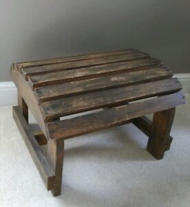 Rustic Primitive Country Foot Stool Bench Country Home Decor Wooden Slat