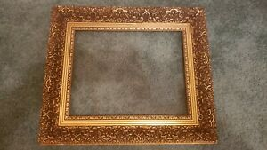 Ornate Vintage Gold Gilt Gesso Wood Picture Art Mirror Frame 14 X 11