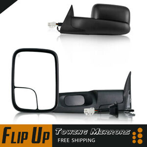 Fits 98 01 Dodge Ram 1500 2500 3500 Flip Up Power Heated Towing Mirrors Pair