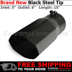 Universal Truck Angled Octagon Black 15in Bolt on Exhaust Tip 5 In 6 Out 256674