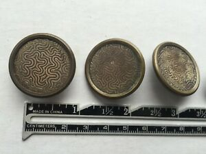 Abstract Deco Brass Metal Shank Buttons With Unusual Brain Like Design