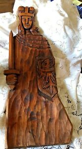 Antique Wall Plaque Wood Hand Carved European Primitive 24 Tall