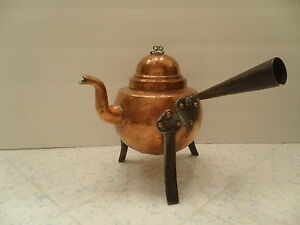 Primitive Hand Made Copper Iron Kettle Tea Pot Teapot Made In Sweden Nice