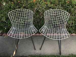 2 White Vintage Bertoia Wire Side Chair Set Knoll Eames Modern Outdoor