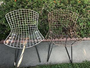 2 White Vintage Bertoia Wire Side Chair Set Knoll Eames Modern Outdoor 2