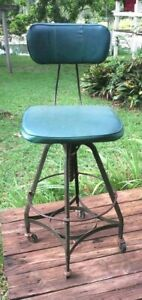 Vintage Machine Age Modern Industrial 1950 S Toledo Metal Machinist Stool Chair