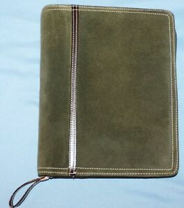Classic Franklin Covey Zip 7 1 5 8 Rings Green Cow Suede Leather Planner