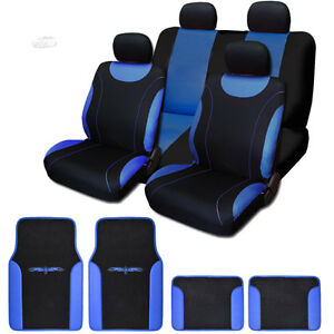New Flat Cloth Black And Blue Car Seat Covers Floor Mats Full Set For Hyundai