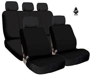 New Black Cloth Car Truck Seat Covers Split Rear Seat With Gift For Ford