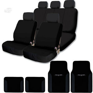 New Black Cloth Car Truck Seat Covers Floor Mats Split Rear Seat Set For Chevy
