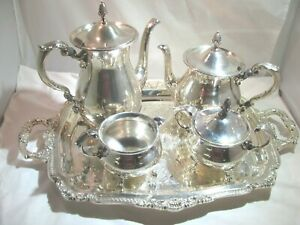 Bristol Silver By Poole 5 Piece Antique Coffee Tea Service With Tray
