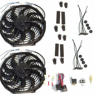 2 Sets Of 16 Electric Curved Reversible Cooling Fan 2500 Cfm Thermostat Kit