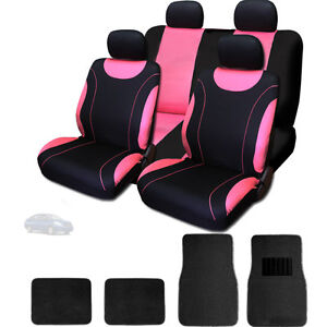 New Sleek Black And Pink Flat Cloth Seat Covers With Mats Set