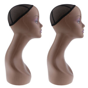 2x Female Mannequin Manikin Head Model Wig Cap Jewelry Display Holder Stand
