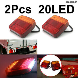 2x 12v 20led Rv Truck Trailer Van Boat Stop Turn Indicator Rear Tail Brake Light