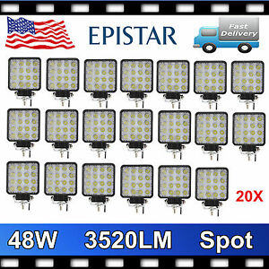 20x 48w Spot Led Off Road Work Light Lamp 12v 24v Vehicle Trailer Driving Ute