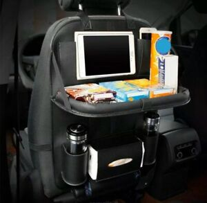 Car Seat Back Bag Organizer Storage Cup Ipad Phone Holder Pocket Leather Black