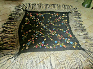 Antique Victorian Embroidered Black Silk Piano Shawl Coverlet Bed Cover 50 X50