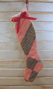 Best Form Prim Handmade Christmas Stocking From Antique Cutter Quilt Peg Rack