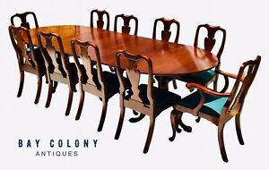 Henkel Harris Mahogany Dining Set Banquet Table 10 Chairs