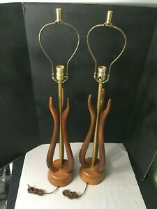 Pair Vintage Mid Century Modern Teak Danish Table Lamps Mcm