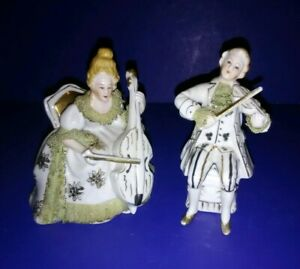 Antique Dresden Lace Porcelain Musician Figures Cellist 2 Violinist Figurines