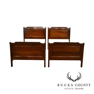 Stickley Cherry Valley Pair Twin Sleigh Beds