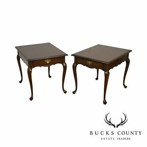 Hitchcock Old Litchfield Solid Cherry Pair Queen Anne One Drawer Side Tables