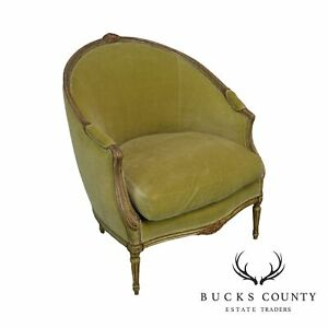 Antique French Louis Xvi Style Green Bergere Chair
