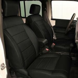 Katzkin Ebony Black Leather Seat Covers 2008 2009 2010 Jeep Wrangler 4 Door