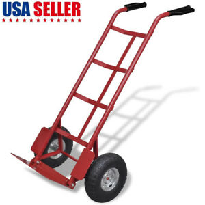 Heavy duty Foldable Cart Moving Warehouse Push Hand Truck W 2 Inflatable Wheels