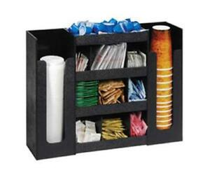 Dispense rite 6 Section Countertop Cup Lid And Condiment Organizer Black