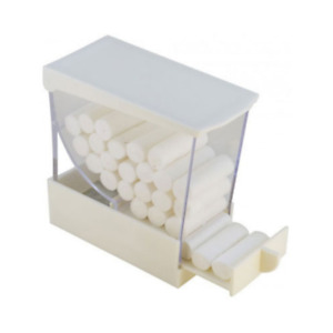 Cotton Roll Dispenser Push Style Clear W White Accent Spring Loaded Plasdent