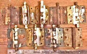 10 Ball Door Hinges Antique Salvage Iron Partial Brass Plated Vintage 3 X 2 5