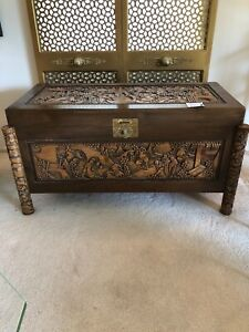 Antique Indian Wood Carved Chest