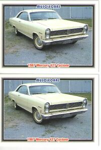 1967 Mercury Cyclone 427 Baseball Card Sized Cards Must See Lot Of 2