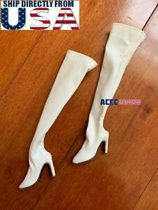 1 6 White Over The Knee Boots HOLLOW For 12quot; Hot Toys PHICEN Female Figure USA $19.99