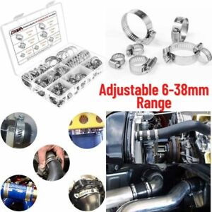 60x Stainless Steel Hose Clamp Set Adjustable Worm Drive Assortment Clamps Gear