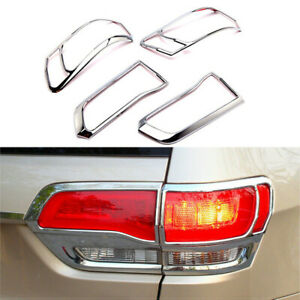 Fits 2014 2020 Jeep Grand Cherokee Chrome Taillight Cover Rear Lamp Trim Frame