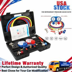 5ft Ac Diagnostic Manifold Gauge Set For Freon Charging Vacuum Pump Evacuation