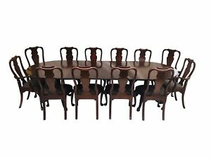 20th C Henkel Harris Mahogany Double Pedestal Dining Set Table