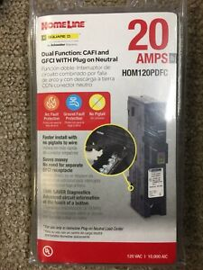Square D hom120pdfc 20 Amp Dual Function Circuit Interrupter