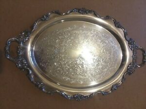 Vintage Wallace Royal Rose Silverplate Waiter Tray 9825